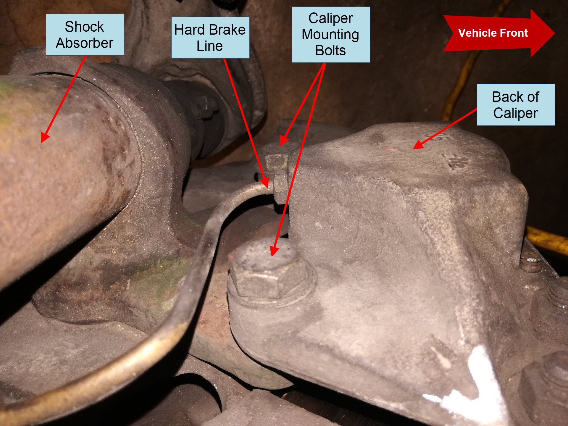 Air-cooled Porsche 911 front brake caliper removal