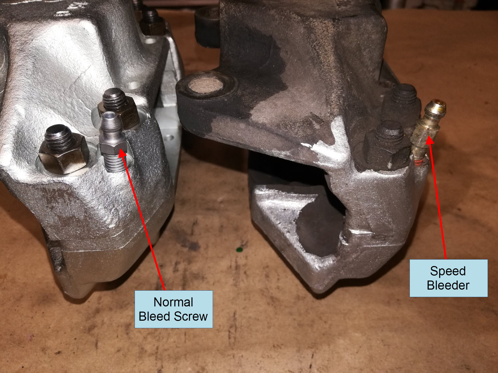 Air-cooled Porsche 911 front brake caliper bleed screw