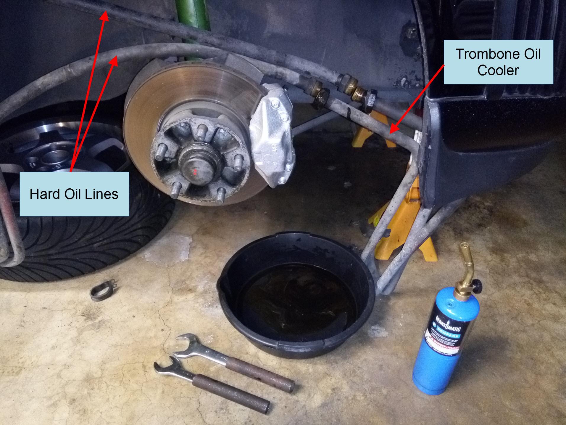 Air-cooled Porsche 911 trombone oil cooler removal.
