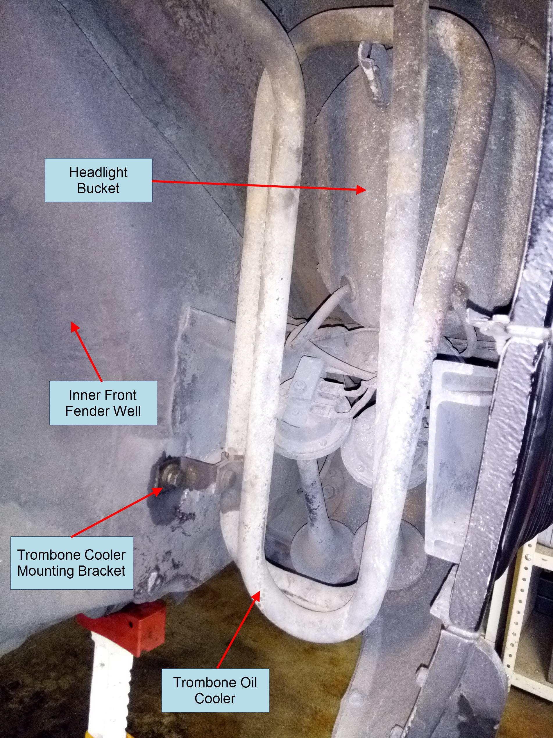 Air-cooled Porsche 911 trombone oil cooler.