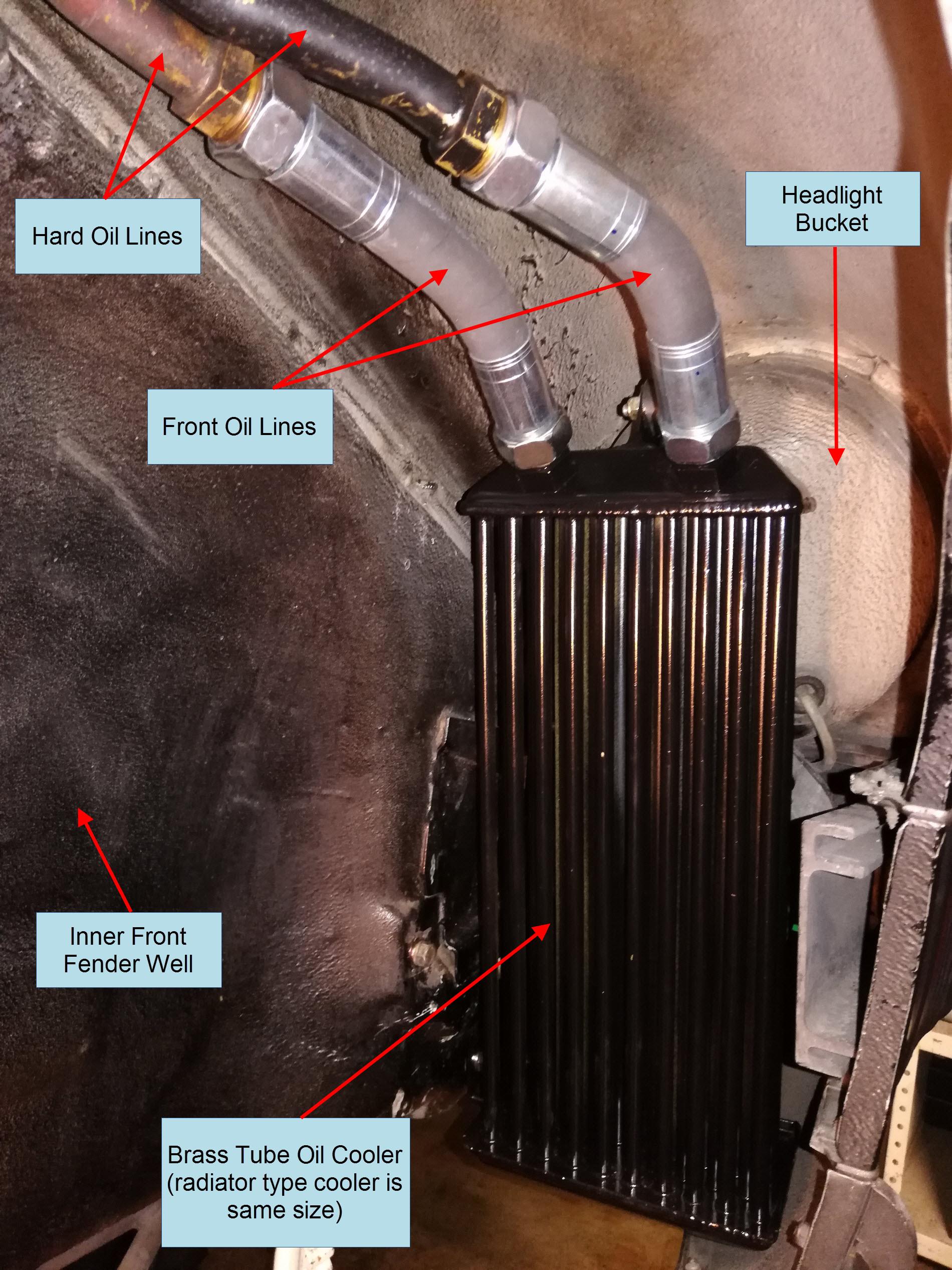 Air-cooled Porsche 911 28 tube brass oil cooler.