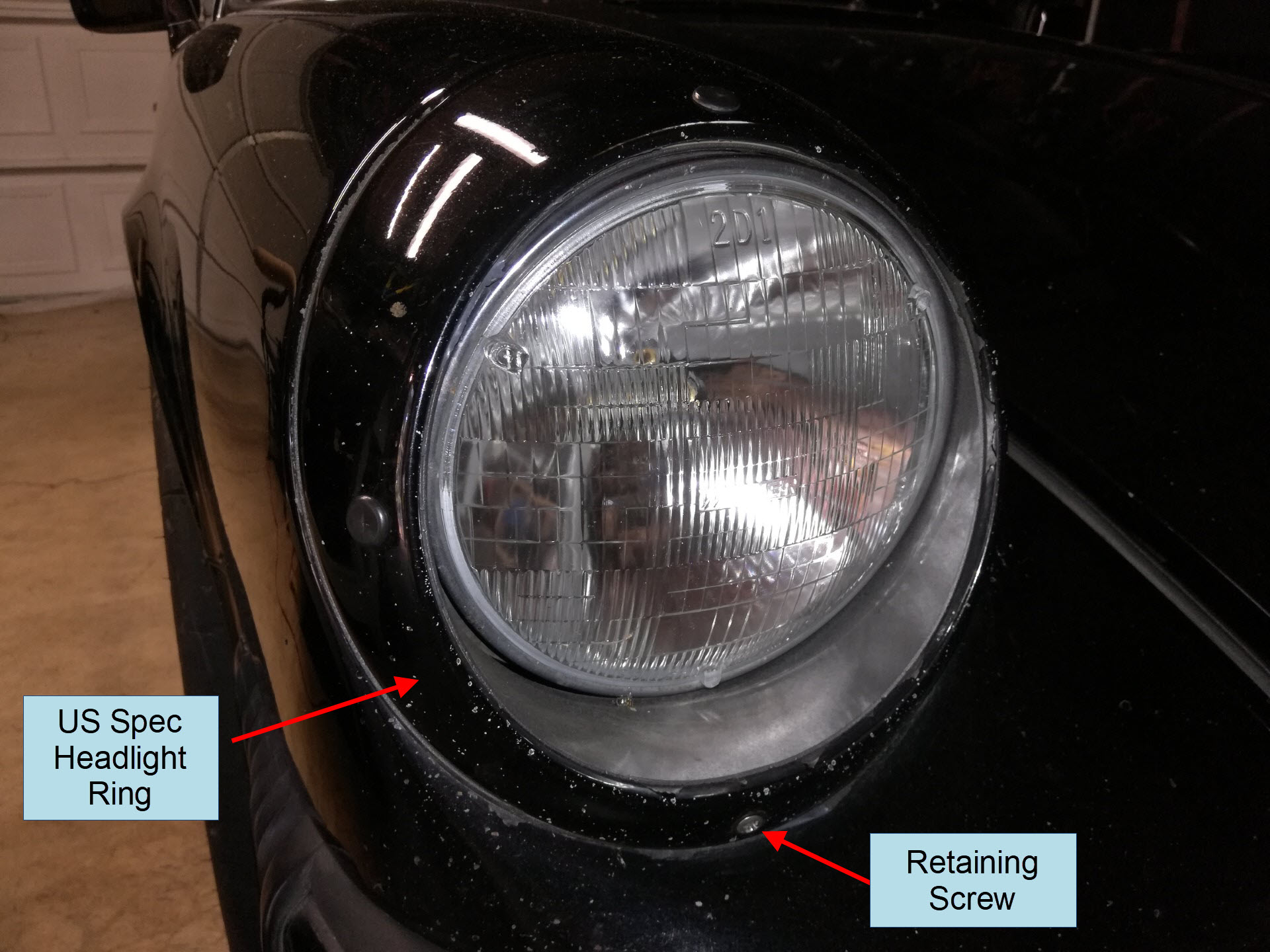 Air-cooled Porsche 911 US Spec Headlight