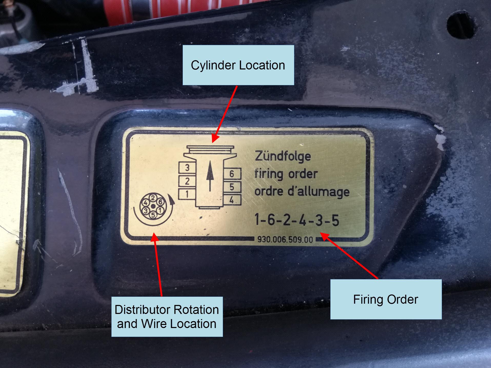 Air-cooled Porsche 911 engine compartment firing order decal.