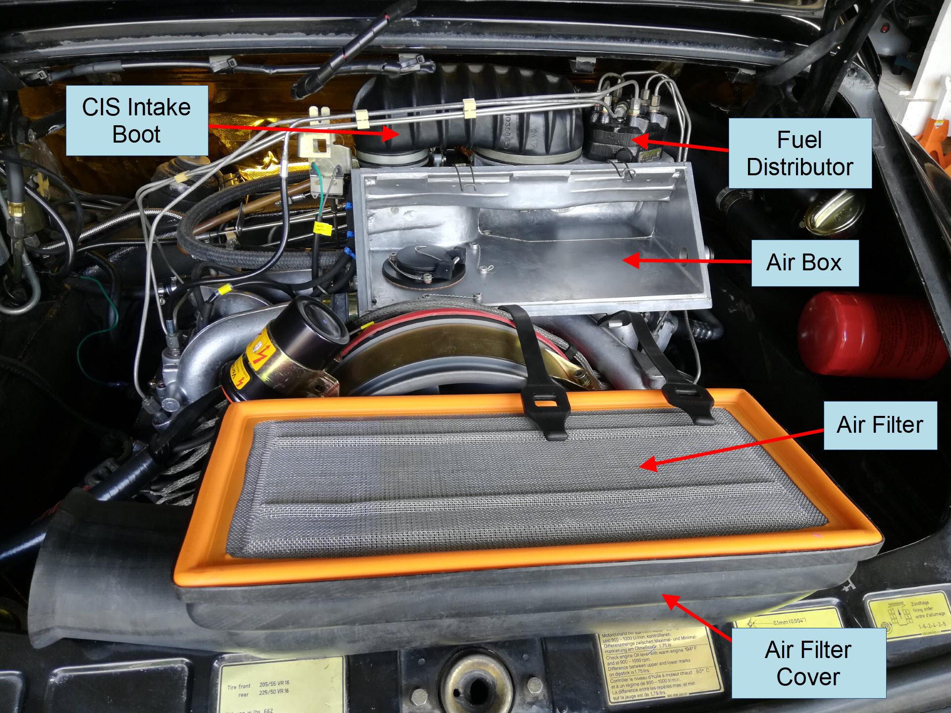 Air-cooled Porsche 911 airbox fuel distributor