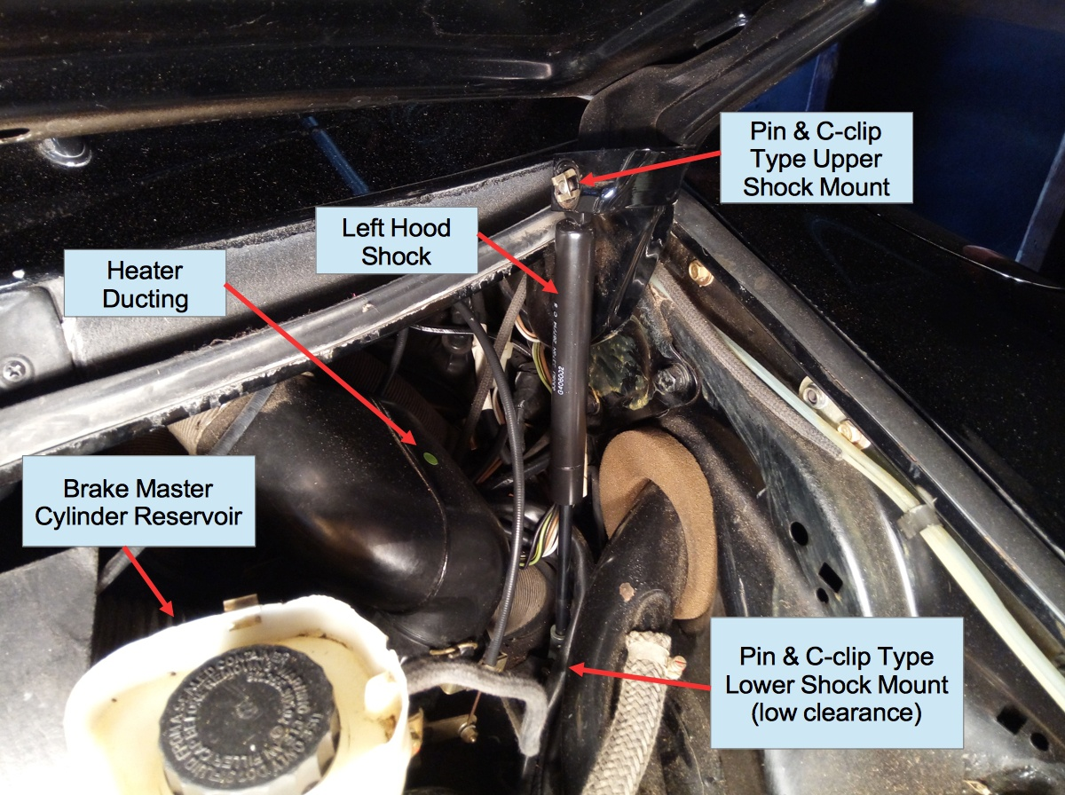 Air-cooled Porsche 911 left shock in front trunk
