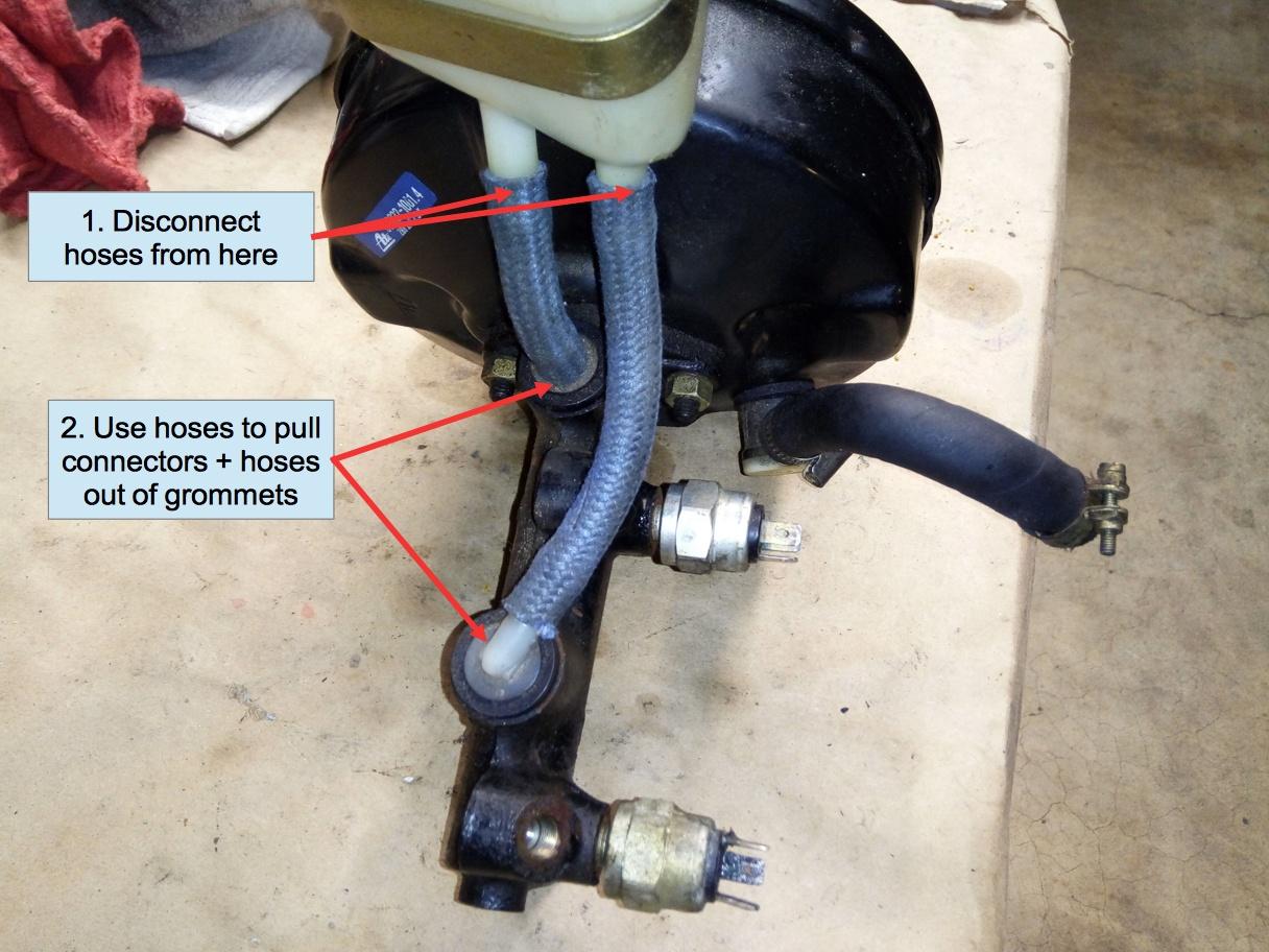 Air-cooled Porsche 911 master cylinder reservoir hoses.