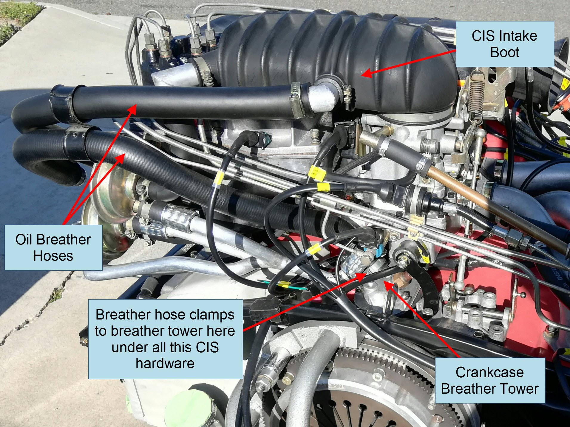 Air-cooled Porsche 911 CIS and crankcase breather location.