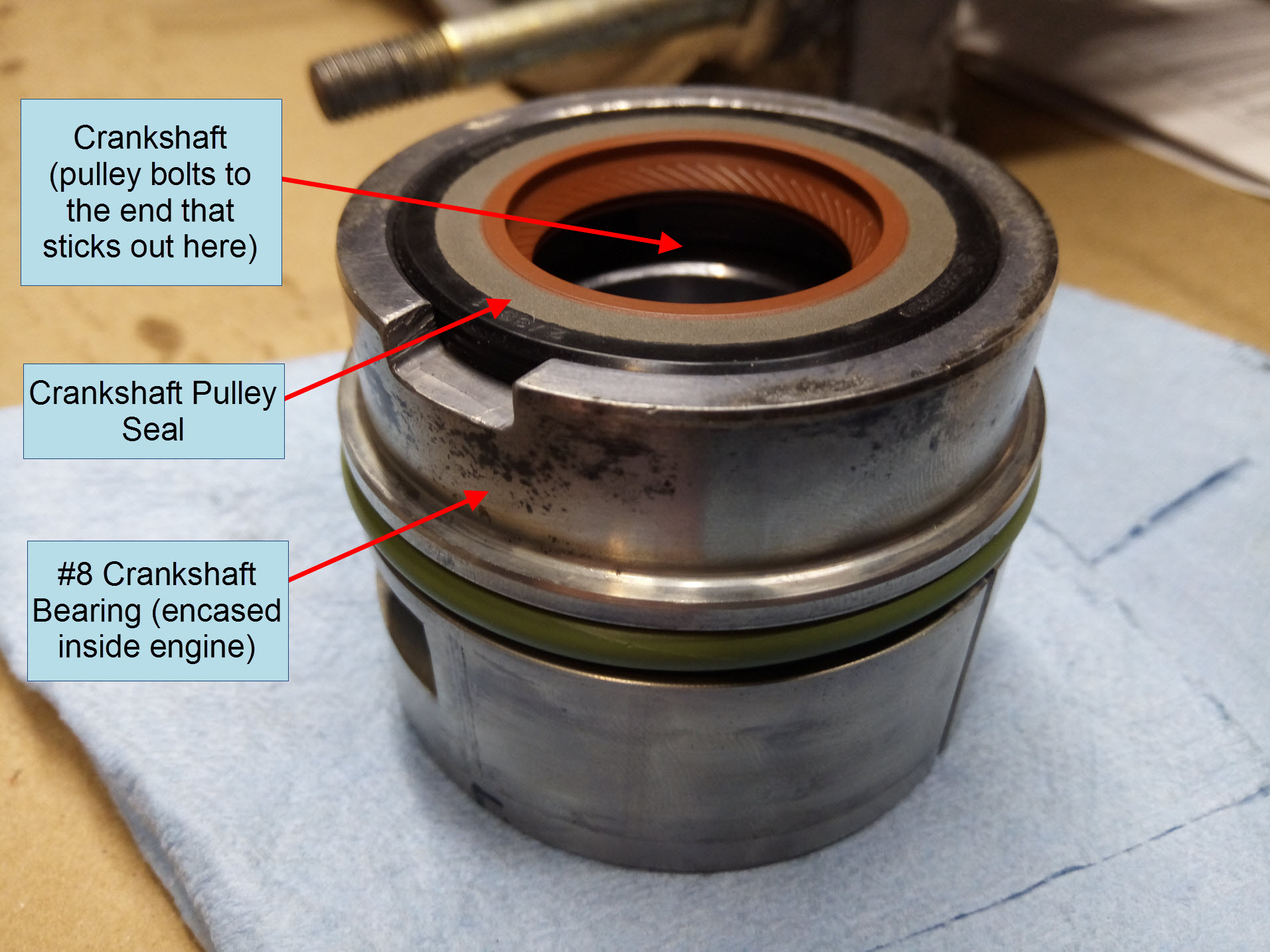 Air-cooled Porsche 911 crankshaft pulley seal.
