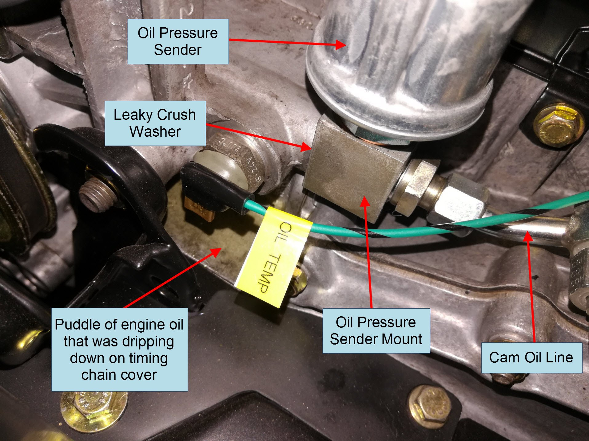 Air-cooled Porsche 911 oil pressure sender leak.