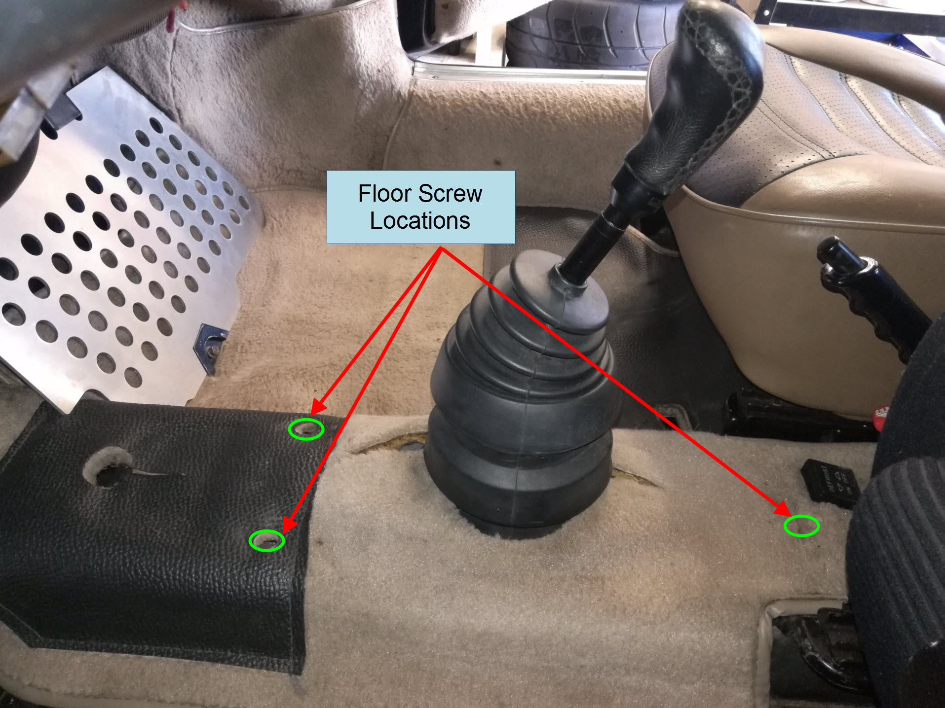 Air-cooled Porsche 911 center console mounting points.