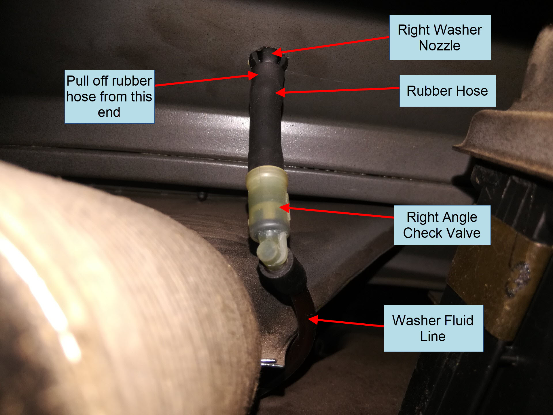 Air-cooled Porsche 911 right windshield washer nozzle