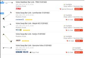 Volvo Sway Bar Link Replacement Heavy Duty, OE, OEM, Genuine, Factory, Symptoms