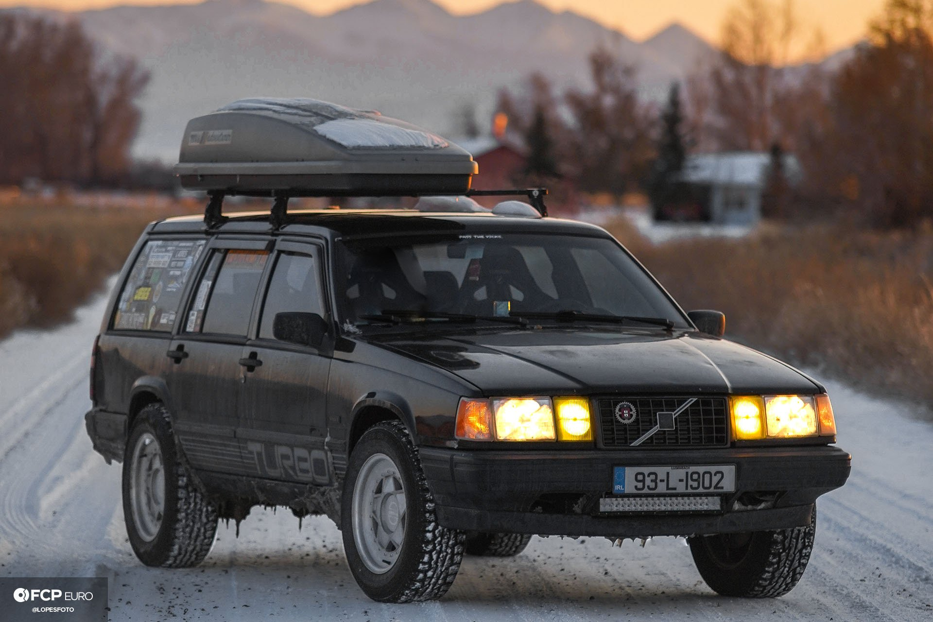 Swedish Metal Overlanding Volvo 940 Turbo Wagon Front Three Quarters